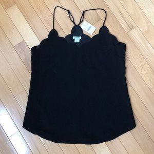Black scalloped cami top